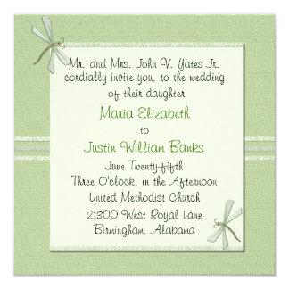 "Custom Green Dragonfly Square Wedding Invitation 5.25"" Square Invitation Card"