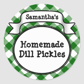 Custom Green Gingham Pickle Jar/Lid Label