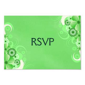 Custom Green Hibiscus Elegant RSVP Response Cards 9 Cm X 13 Cm Invitation Card
