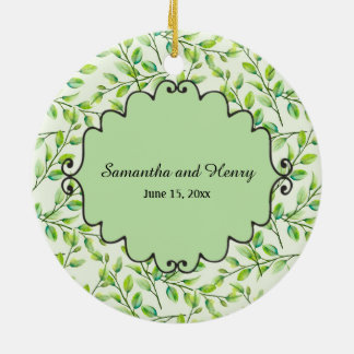 Custom Green Leaves and Branches Photo Wedding Ceramic Ornament