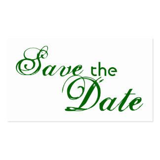 Custom green letter save the date wedding cards business card template
