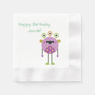 custom green monster happy birthday paper napkins disposable serviette