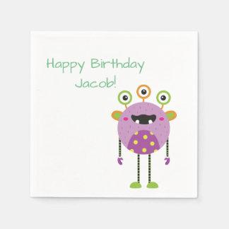 custom green monster happy birthday paper napkins paper napkin