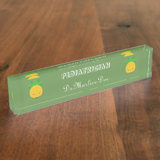Custom Green Pineapple Pediatrician Desk Nameplate