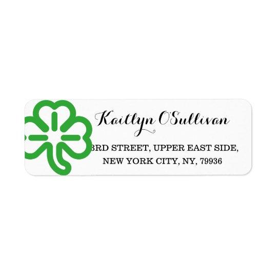 Custom Green Shamrock Clover Irish St Patricks Day Return Address Label