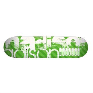 Custom Green Stripes & White Custom Name Pattern Skate Board Deck