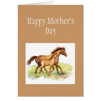 Custom Greeting, Mother's Day, Horse, Foal Card