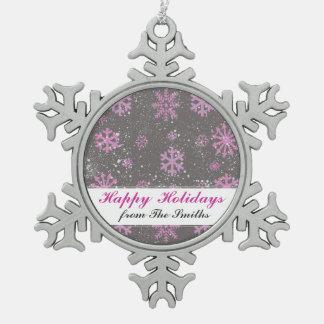 Custom Greeting Purple Snowflake  Christmas Snow Pewter Snowflake Decoration