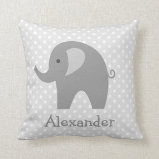 Custom grey elephant throw pillow for nursery room