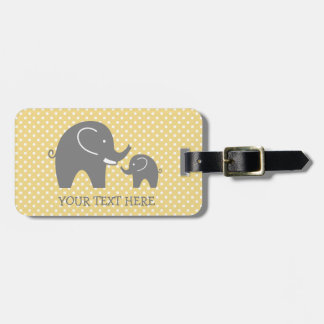 Custom grey elephant travel luggage tag for kids