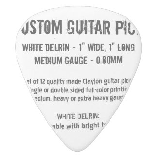 Custom Guitar Pick - Delrin, Medium Gauge 0.80mm White Delrin Guitar Pick
