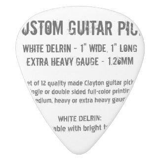 Custom Guitar Pick - Delrin, X Heavy Gauge 1.26mm White Delrin Guitar Pick
