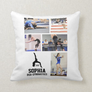 Custom Gymnastics Photo Collage Name Team Year Throw Pillow