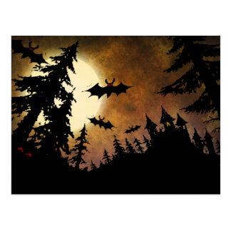 Custom Halloween Bats, Castle and Moon Postcard