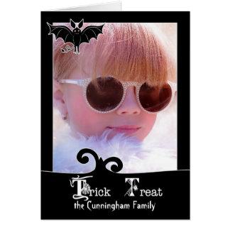 Custom Halloween Black Trick or Treat Photo Card