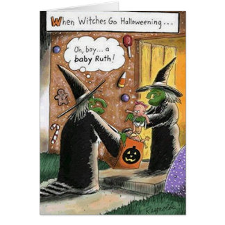 Custom Halloween Funny Witches Trick or Treat Greeting Card