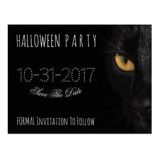 Custom Halloween Party Save The Date Black Cat Postcard