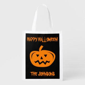 Custom Halloween pumpkin carving shopping bags