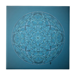 Custom hand drawn blue mandala tile