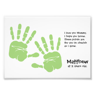 Custom handprint art from child with name, poem photo print