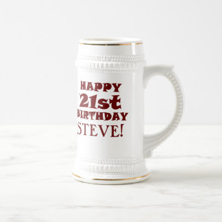 Custom Happy 21st Birthday Beer Stein Coffee Mug