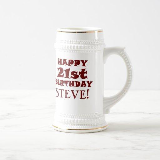 Custom Happy 21st Birthday Beer Stein Coffee Mugs
