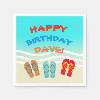 Custom Happy Birthday Beach Party Paper Serviettes