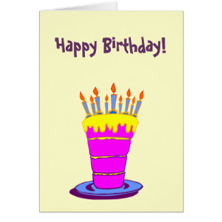 Custom Happy Birthday Giant Pink Cake Greeting Card