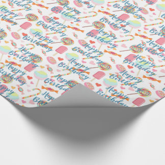 Custom Happy Birthday Wish On Popsicles And Candy Wrapping Paper