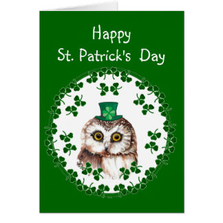 Custom Happy St. Patrick's Day Shamrock Cute Owl Card
