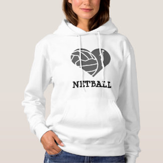 Custom Heart and Player Theme Love Netball Hoodie
