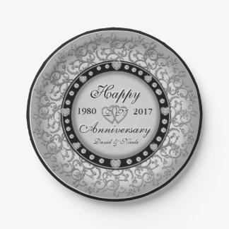 Custom Heart Monogram Ornamental Anniversary Paper Plate