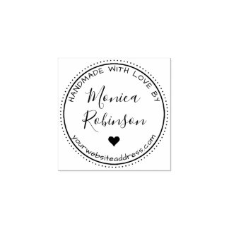 Custom Heart & Round Handmade With Love By Rubber Stamp