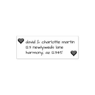 Custom Hearts Couple   Wedding Return Address Self-inking Stamp