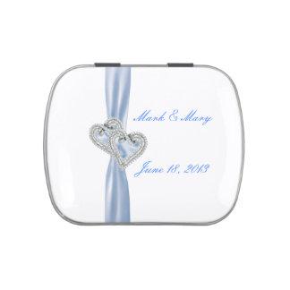 Custom Hearts Ice Blue Ribbon Wedding Candy Tin