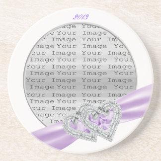 Custom Hearts Lavender Ribbon Coaster
