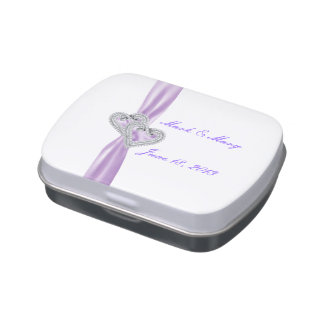 Custom Hearts Lavender Ribbon Wedding Candy Tin