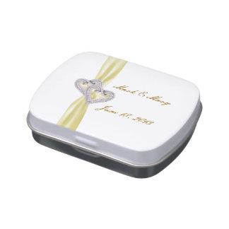 Custom Hearts Lemon Ribbon Wedding Candy Tin