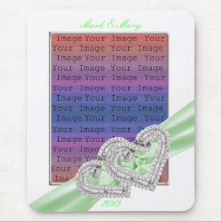 Custom Hearts Lime Ribbon Mouse Pad