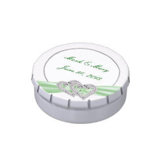 Custom Hearts Lime Ribbon Wedding Candy Tin
