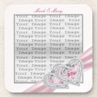 Custom Hearts Pastel Pink Ribbon Coasters