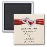Custom Hearts Red Ribbon Save The Date Magnet Square Magnet