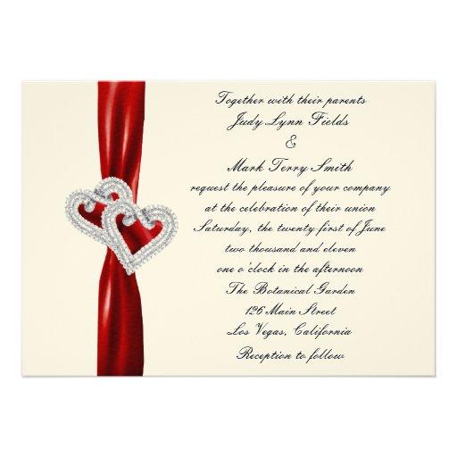 Custom Hearts Red Ribbon Wedding Invitation
