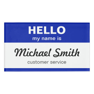 Custom Hello My Name is Stylish Blue White Name Tag