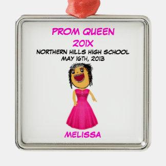 Custom High School Prom Queen Cartoon Silver-Colored Square Decoration