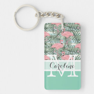 Custom Hip Pink Flamingoes Cute Palm Leafs Pattern Key Ring