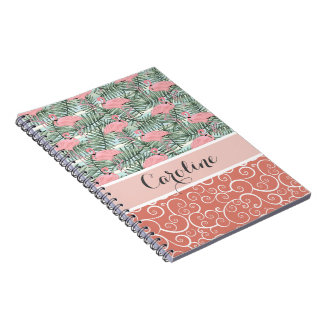 Custom Hip Pink Flamingoes Cute Palm Leafs Pattern Notebook