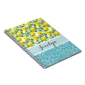 Custom Hip Tropical Summer Lemons Fruit Pattern Notebook