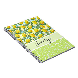 Custom Hip Tropical Summer Lemons Fruit Pattern Notebooks
