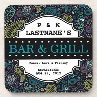 Custom Hippie Peacock Paisley Bar and Grille Coaster